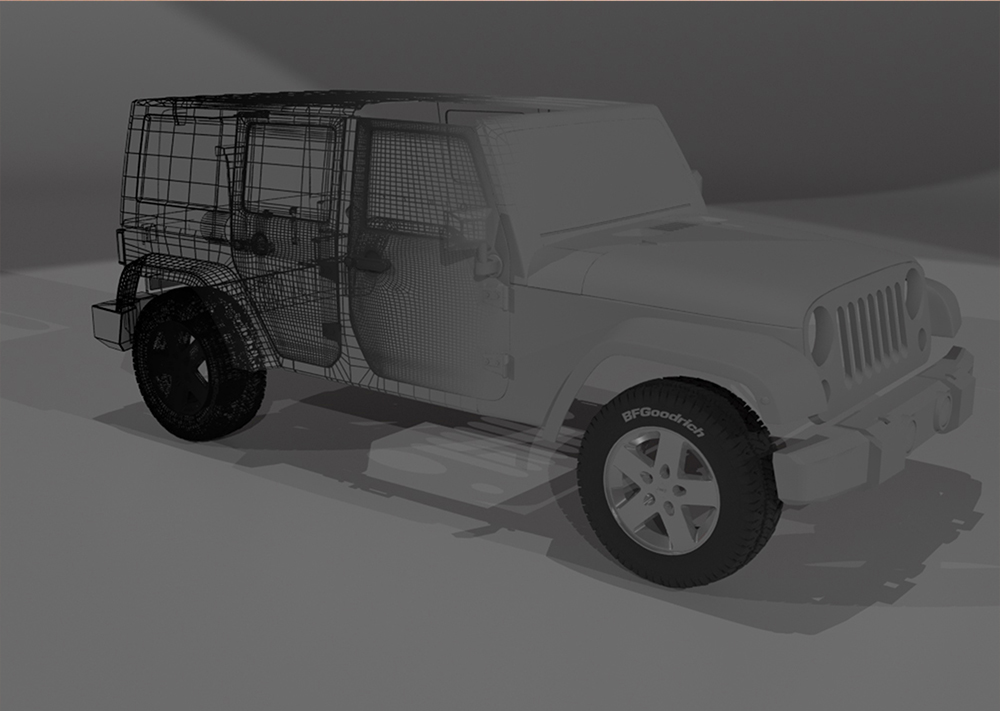 3D Model of a Jeep Wrangler JKU